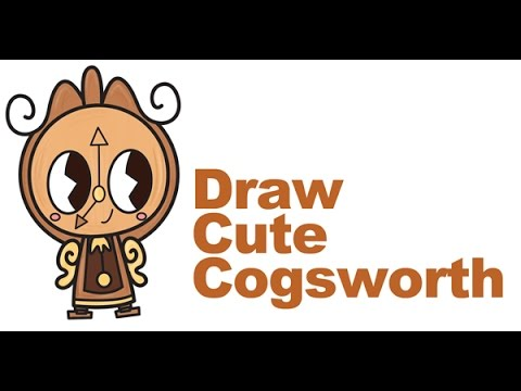 How To Draw Cogsworth The Clock From Beauty And Beast Cute Easy Step By Drawing