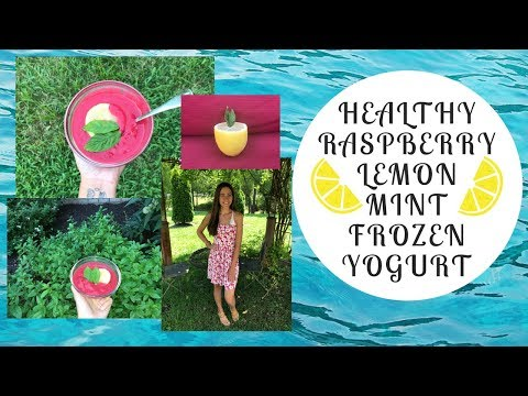 Healthy Raspberry Mint Lemonade Frozen Yogurt Dairy Free, Gluten Free, Vegan, Organic, Natural, Easy