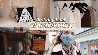 first day back at university 🎓disinfect & unpack with me + first time in a shop!!