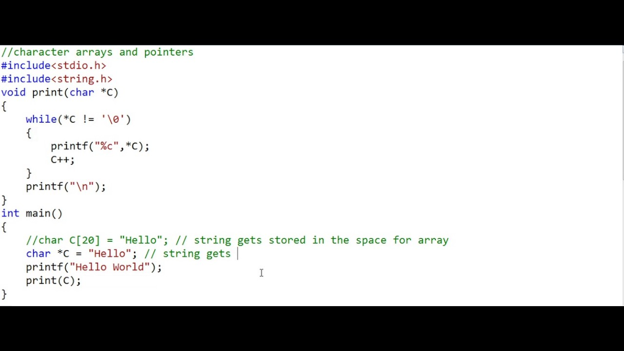 Character arrays and pointers - part 2