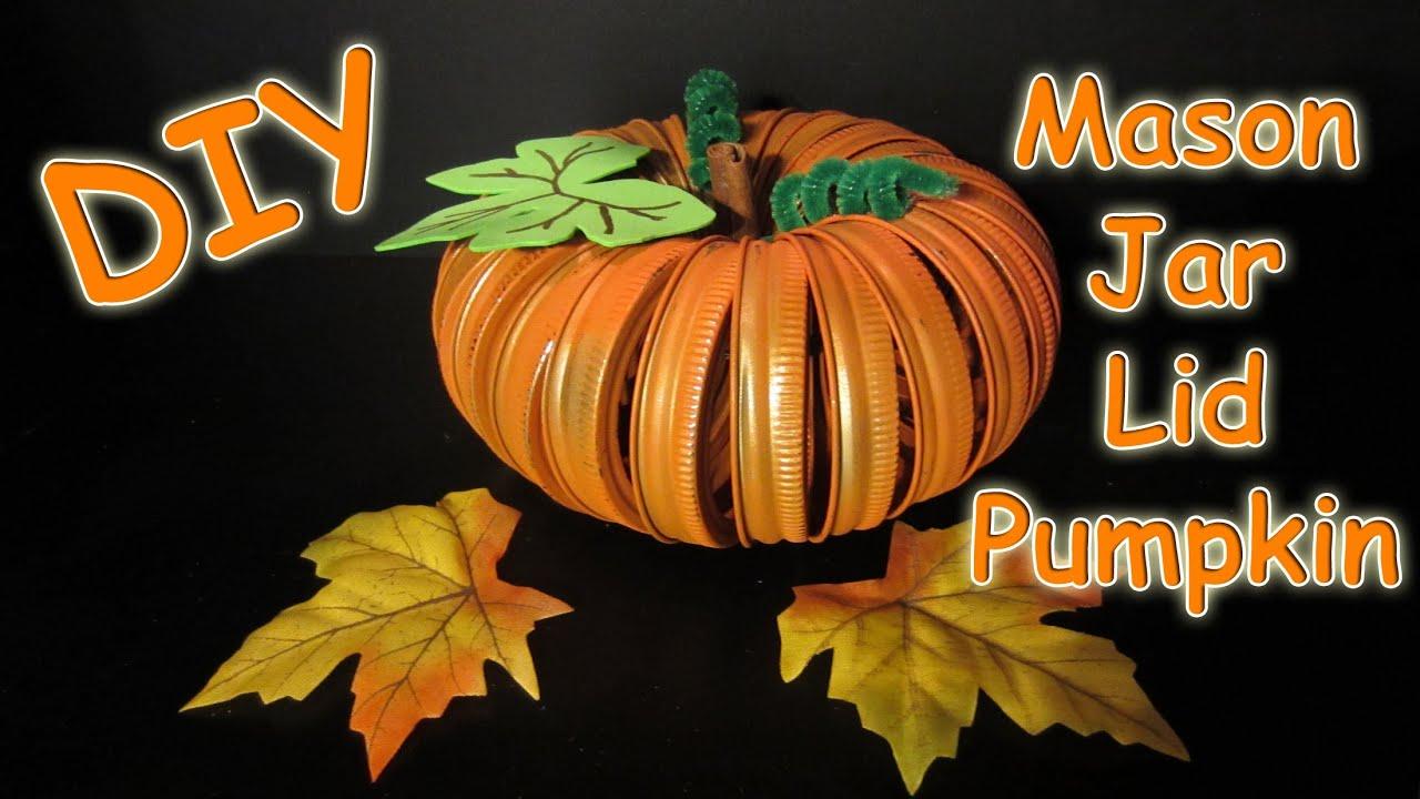 diy mason jar lid pumpkin youtube