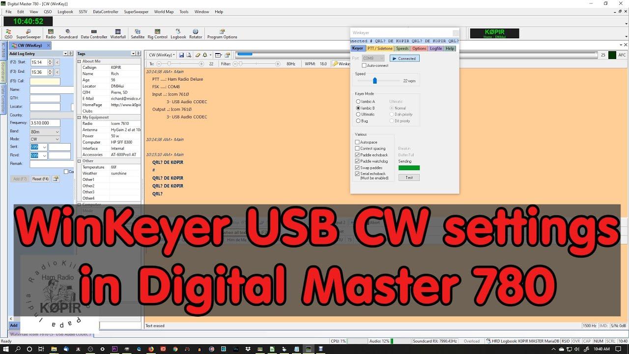 WinKeyer USB CW HRD Digital Master 780 Settings
