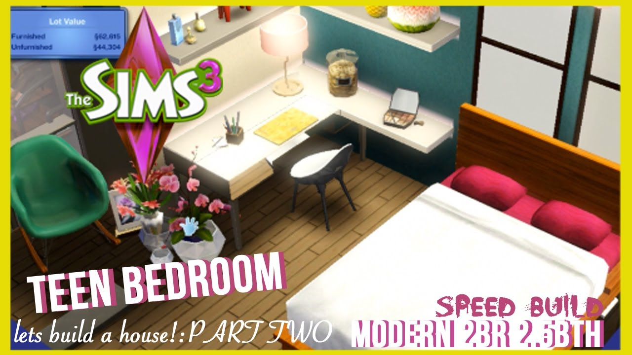 Sims 3 Bedroom The Sims 3 Speed Build Modern Style Home Part 2 Teen