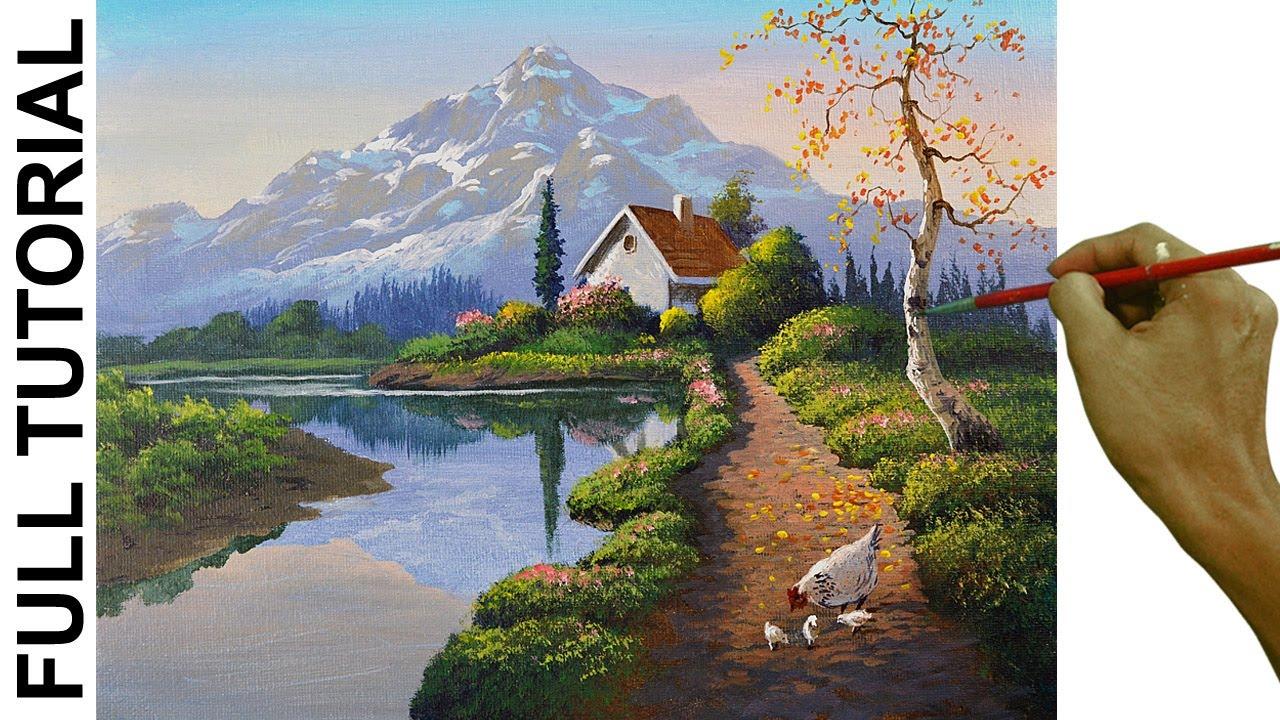 Acrylic Landscape Painting Tutorial / White House with Chickens / JMLisondra