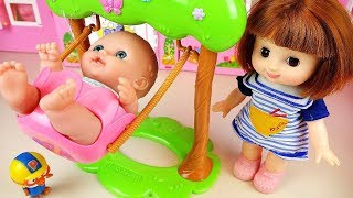 Baby doll slide and car toys Baby Doli play