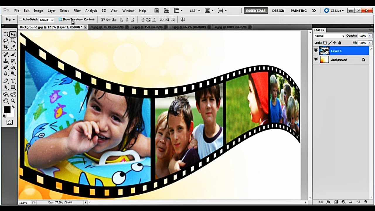 How to Create a 3D Film Strip in Photoshop - YouTube