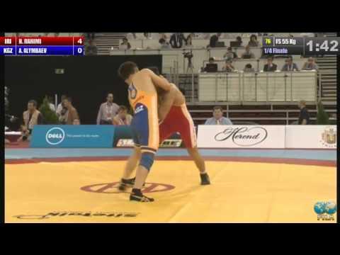 Hassan Rahimi (IRI) vs Altinbek Alimbaev (KGZ) 55kg 1/4 Final - 2013 World Wrestling Championships