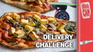 Electric Skateboard Pizza Delivery Challenge | FridgeCam