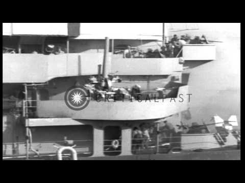 US Navy Cruiser USS Savannah (CL-42) ablaze after being hit by a German radio-con...HD Stock Footage