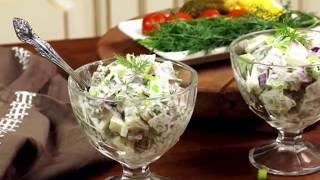 Домашний рецепт простой и вкусный салат закуска сельдь по баварски с яблоком