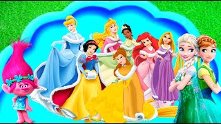 Learn Characters with Disney princesses Frozen Rapunzel Trolls Cinderella Mulan in Bubble pool Kids
