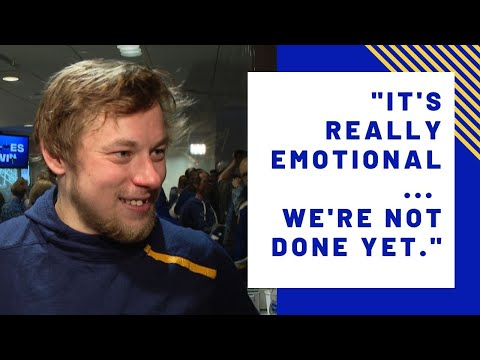 Vladimir Tarasenko talks after the Blues win the Western Conference Final
