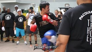DOPE! MANNY PACQUIAO MIMICS BRUCE LEE KICKS IN FINAL WORKOUT FOR THURMAN