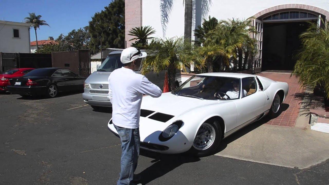 Symbolic Motors White 1969 Lamborghini Miura S Rev Sound Walk