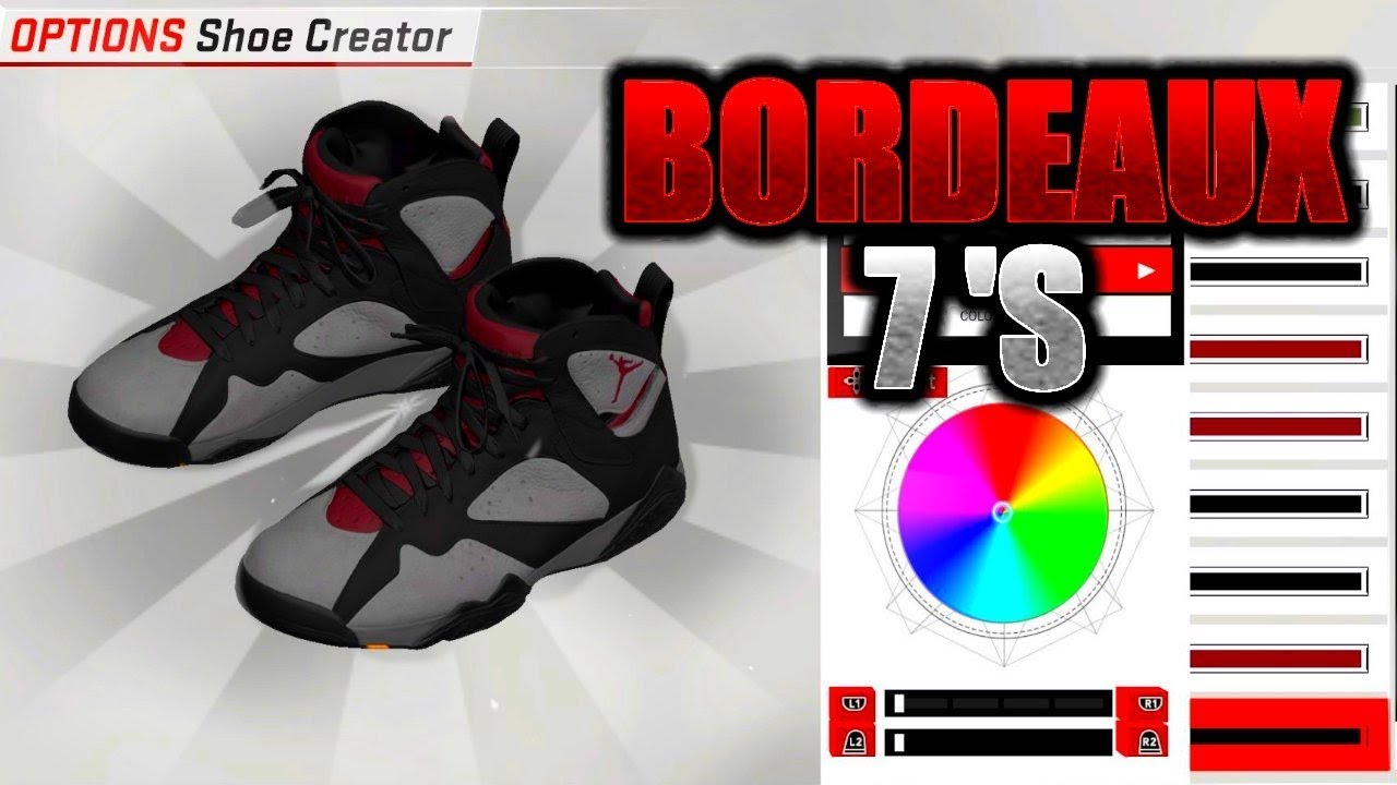 NBA 2K18 SHOE CREATOR TUTORIAL HOW TO MAKE AIR JORDAN 7 BORDEAUX BEST AIR  JORDAN RETROS ON NBA 2K18!