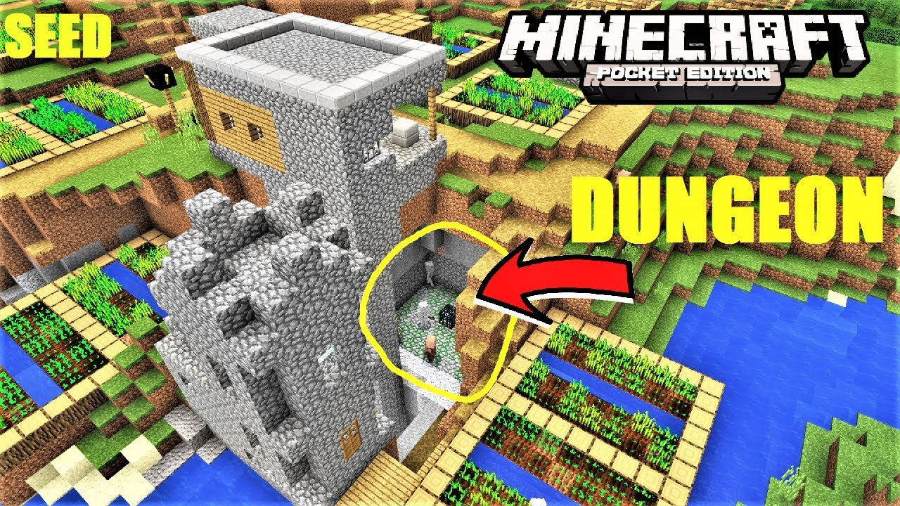 Minecraft Pe Perfect Starter Seed Village On Ravine With Dungeon Mcpe 12