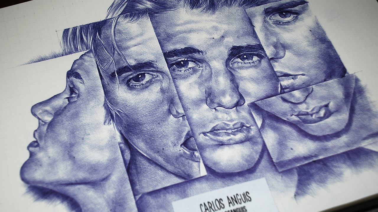 Drawing Justin Bieber with ballpoint pen