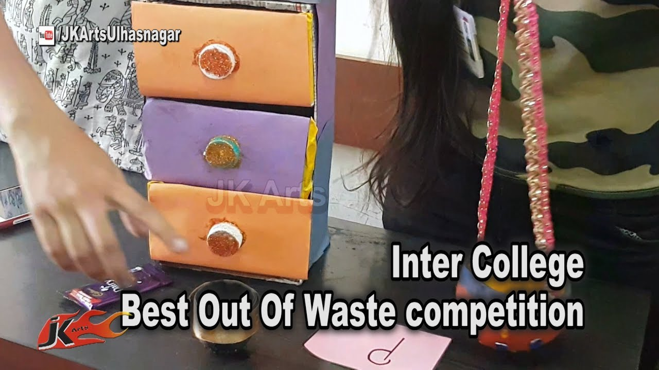 Inter college best out of waste competition event held at for Best out waste competition