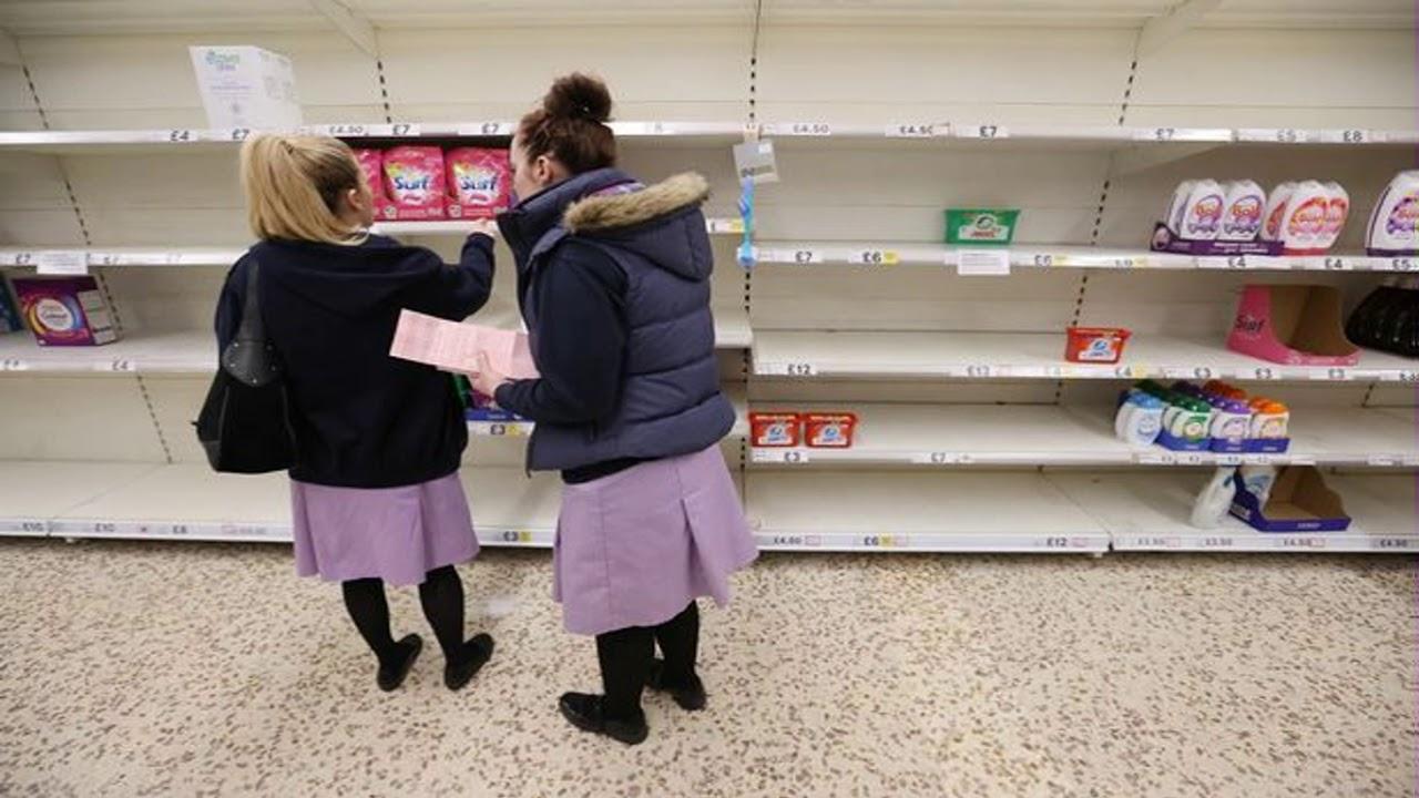 Panic buyers start stripping shelves bare of loo roll, fresh veg & rice ...