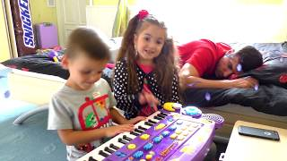 Kids and Papa Play with Musical Instruments Toys