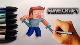 How to draw Herobrine from Minecraft step by step drawing lesson