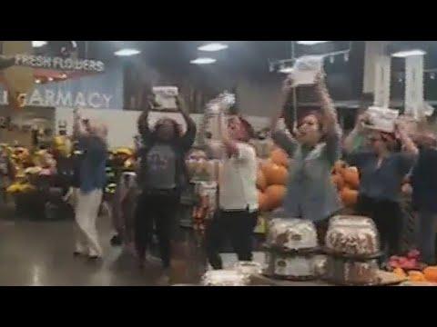 Kristina Kage - Fred Meyer flash mob demands equal pay, Goes Viral