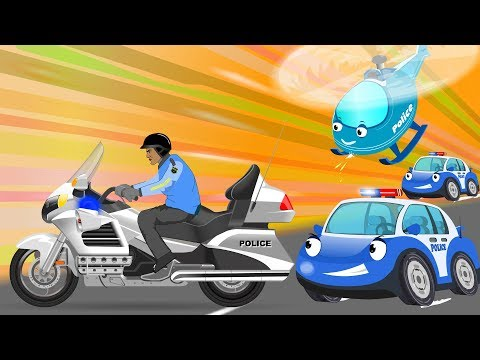 Police Motor bike Chase  Bob Cars Cartoon for kids  Rhymes & Songs for Children