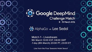 Match 1 - Google DeepMind Challenge Match: Lee Sedol vs AlphaGo(Watch DeepMind's program AlphaGo take on the legendary Lee Sedol (9-dan pro), the top Go player of the past decade, in a $1M 5-game challenge match in ..., 2016-03-09T07:59:29.000Z)