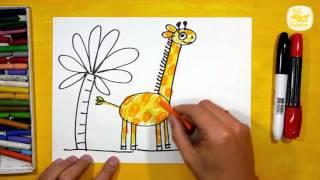 Как нарисовать Жирафа. Урок рисования для детей от 3 лет | Раскраска для детей