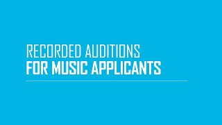Guidance on Recorded Auditions for Music Applicants