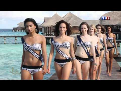 Miss France 2011 Contestants Bikini Modeling in Water Residences at Coco Palm resort Maldives