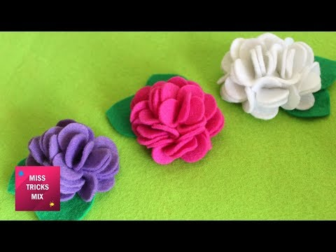 Felt Flower Tutorial #2  - DIY : How To Make Easy Felt Flower / Spring Crafts.