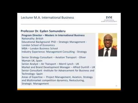 Online info session M.A. International Business (non-consecutive)