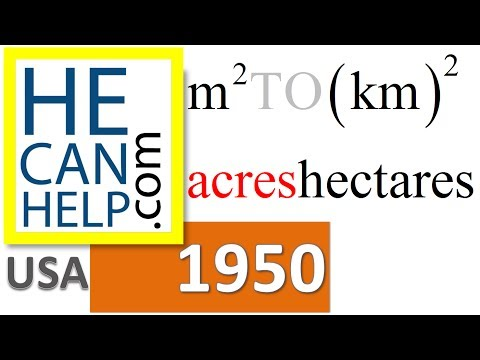 1950 {HECANHELP.COM USA} Rectangle m2 Area  Conversion Acre km2 Hectare
