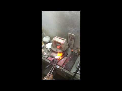 Melting 22 Carat Gold Jewelry into Bar hand pour in India