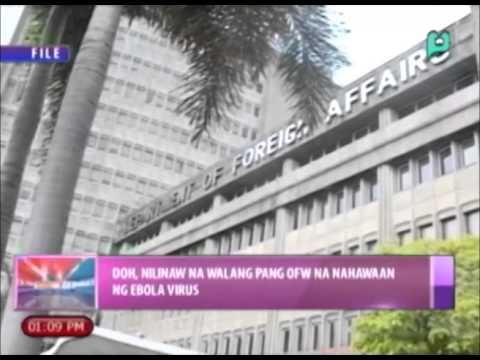 News@1: DOH, nilinaw na wala pang OFW na nahawaan ng Ebola Virus || Nov. 21, 2014