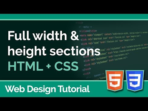 Creating Full Page Sections Using HTML & CSS - Web Design Tutorial