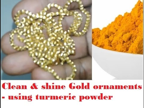 clean & shine gold ornaments -- using turmeric powder
