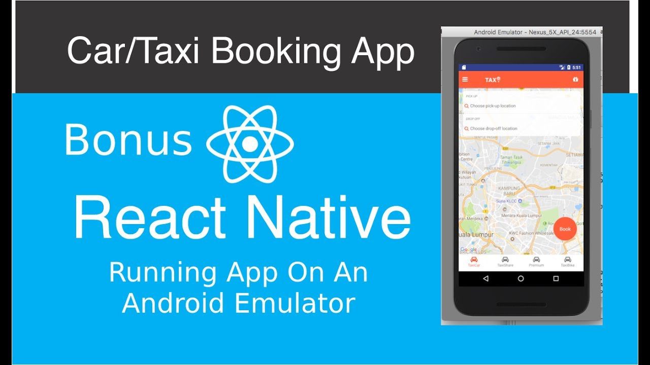 React Native Car/Taxi Booking App - Running App On Android Emulator