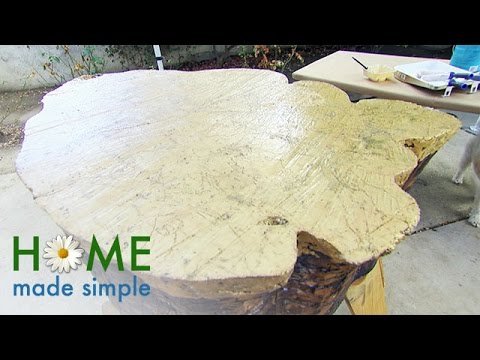transform a tree stump into a one of a kind coffee table home made simple oprah winfrey network
