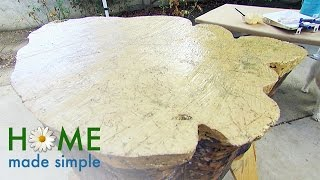 Transform a Tree Stump into a One-of-a-Kind Coffee Table | Home Made Simple |  Oprah Winfrey Network