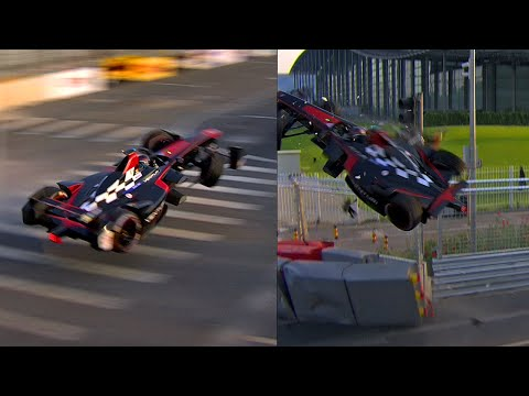 Huge Crash In Formula E's First Ever Race! - Prost vs Heidfeld Accident