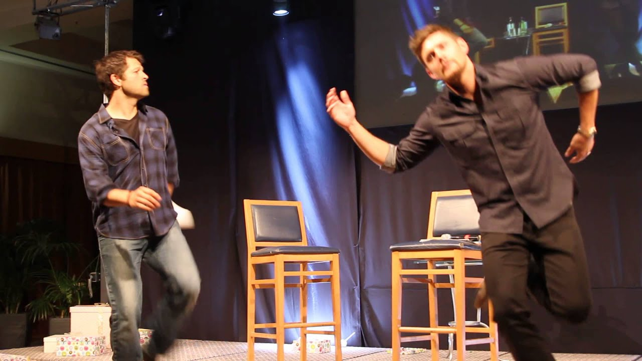 jensen ackles and misha collins dancing a jig to i m singing int