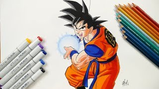 How To Draw Goku Kamehameha - Step By Step (Tutorial) - Dragonball Super