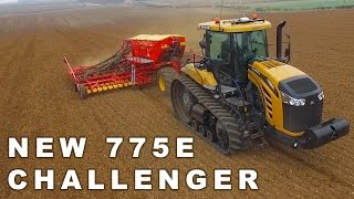challenger 775e pulling vaderstad 8m drill