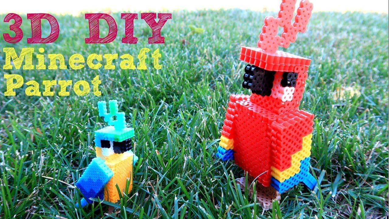 3d Perler Bead Minecraft Parrot Figure  Making A Follower