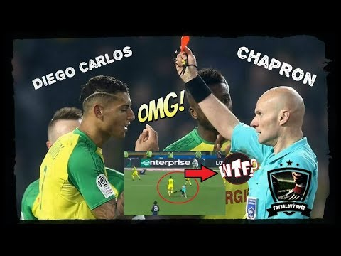 Tony Chapron Kick vs Diego Carlos│Ligue 1│Nantes vs PSG (0-1)14.1.18│Bizarre, Craziest RED CARD