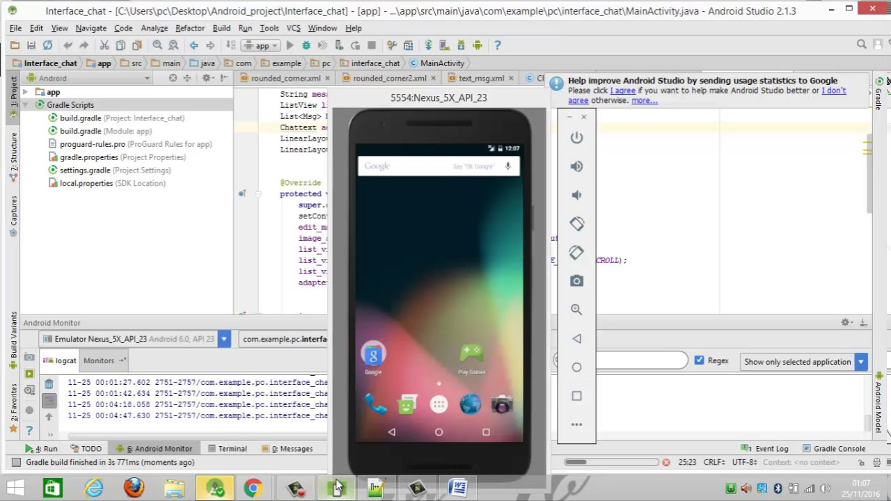 Android Tutorial : 4- how to build chat app similar to Whatsapp using xmpp  part 1