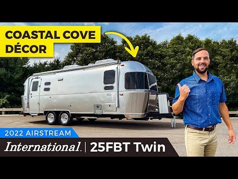 Gorgeous Coastal Themed Airstream | 2022 International 25FBT Twin Walk Through Tour