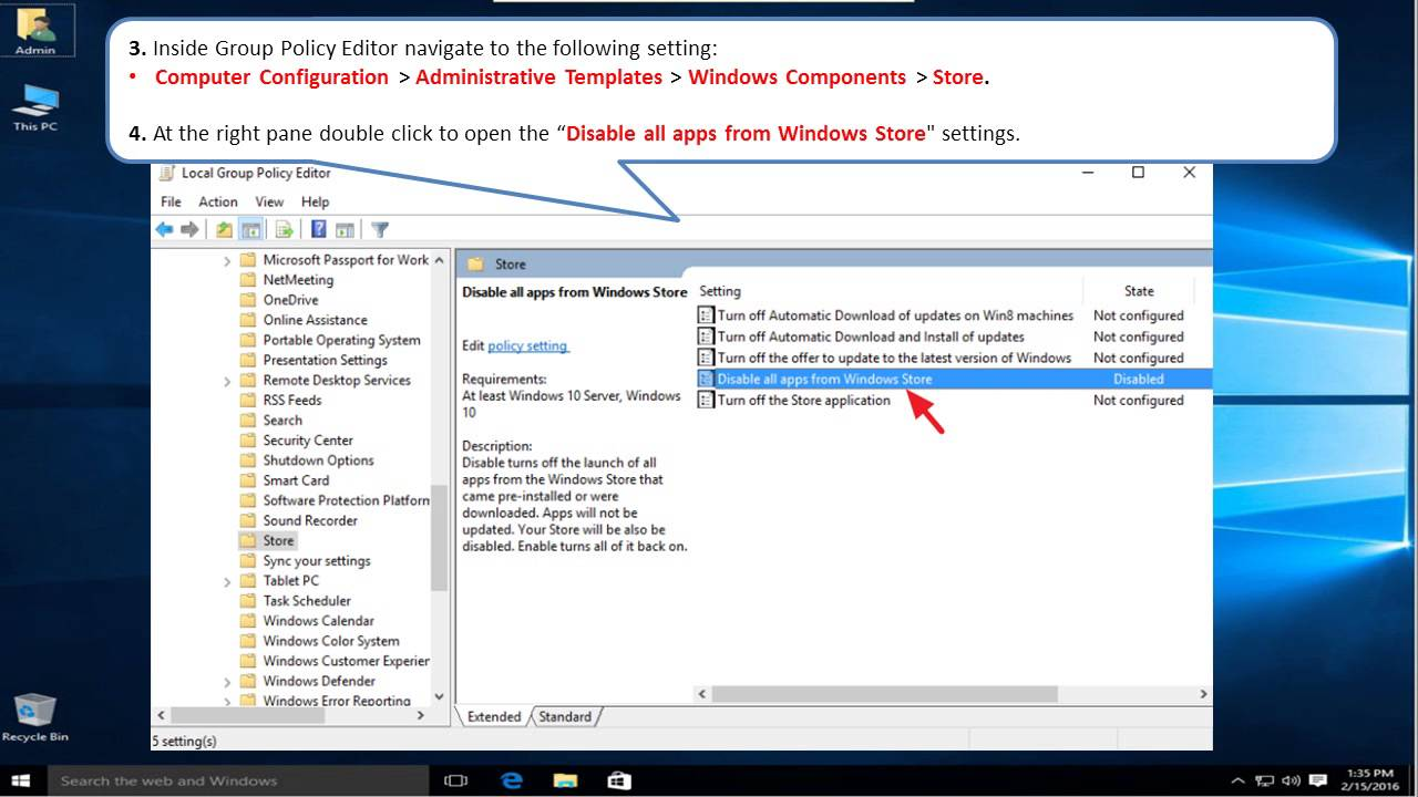 How to: Disable Windows Store App in Windows 10